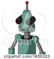 Green Mech With Cone Head And Round Mouth And Black Glowing Red Eyes And Single Led Antenna