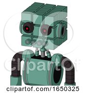 Green Mech With Cube Head And Pipes Mouth And Black Glowing Red Eyes