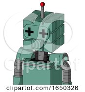 Green Mech With Cube Head And Speakers Mouth And Plus Sign Eyes And Single Led Antenna