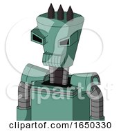 Green Mech With Cylinder Conic Head And Toothy Mouth And Angry Eyes And Three Dark Spikes