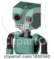 Green Mech With Mechanical Head And Keyboard Mouth And Black Glowing Red Eyes