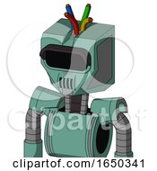 Green Mech With Mechanical Head And Speakers Mouth And Black Visor Eye And Wire Hair