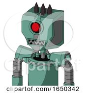 Green Mech With Mechanical Head And Square Mouth And Cyclops Eye And Three Dark Spikes
