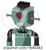 Green Mech With Mechanical Head And Teeth Mouth And Cyclops Eye And Pipe Hair