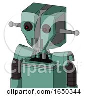 Green Mech With Mechanical Head And Vent Mouth And Red Eyed