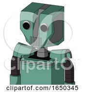 Green Mech With Mechanical Head And Vent Mouth And Two Eyes