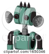 Green Mech With Multi Toroid Head And Red Eyed And Three Dark Spikes