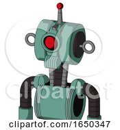 Green Mech With Multi Toroid Head And Speakers Mouth And Cyclops Eye And Single Led Antenna