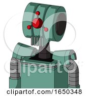Green Mech With Multi Toroid Head And Vent Mouth And Cyclops Compound Eyes