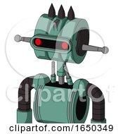 Green Mech With Multi Toroid Head And Visor Eye And Three Dark Spikes