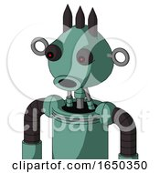 Green Mech With Rounded Head And Round Mouth And Red Eyed And Three Dark Spikes