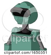 Green Mech With Rounded Head And Speakers Mouth And Black Visor Eye
