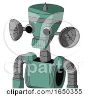 Green Mech With Vase Head And Toothy Mouth And Two Eyes And Spike Tip