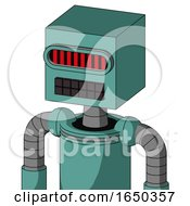 Greenish Mech With Box Head And Keyboard Mouth And Visor Eye