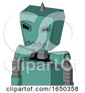 Greenish Mech With Box Head And Pipes Mouth And Angry Eyes And Spike Tip