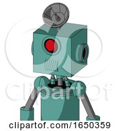 Greenish Mech With Box Head And Speakers Mouth And Cyclops Eye And Radar Dish Hat