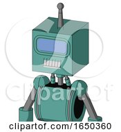 Greenish Mech With Box Head And Teeth Mouth And Large Blue Visor Eye And Single Antenna
