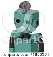 Greenish Mech With Box Head And Teeth Mouth And Two Eyes And Radar Dish Hat