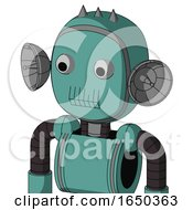 Greenish Mech With Bubble Head And Toothy Mouth And Two Eyes And Three Spiked