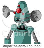 Greenish Mech With Cone Head And Sad Mouth And Cyclops Compound Eyes