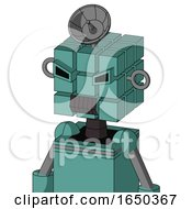 Greenish Mech With Cube Head And Dark Tooth Mouth And Angry Eyes And Radar Dish Hat