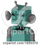 Greenish Mech With Cube Head And Speakers Mouth And Angry Eyes And Double Antenna