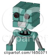 Greenish Mech With Cube Head And Teeth Mouth And Red Eyed