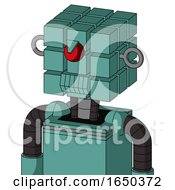 Greenish Mech With Cube Head And Toothy Mouth And Angry Cyclops