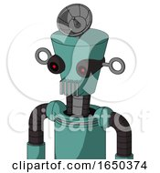 Greenish Mech With Cylinder Conic Head And Vent Mouth And Black Glowing Red Eyes And Radar Dish Hat