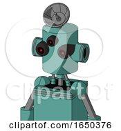 Greenish Mech With Cylinder Head And Three Eyed And Radar Dish Hat