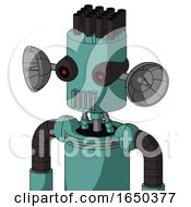Greenish Mech With Cylinder Head And Vent Mouth And Black Glowing Red Eyes And Pipe Hair