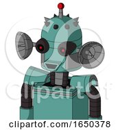 Greenish Mech With Dome Head And Happy Mouth And Black Glowing Red Eyes And Single Led Antenna