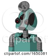 Greenish Mech With Droid Head And Dark Tooth Mouth And Three Eyed And Radar Dish Hat