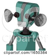 Greenish Mech With Droid Head And Teeth Mouth And Red Eyed