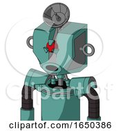 Greenish Mech With Mechanical Head And Round Mouth And Angry Cyclops Eye And Radar Dish Hat