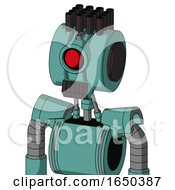 Greenish Mech With Multi Toroid Head And Dark Tooth Mouth And Cyclops Eye And Pipe Hair
