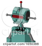 Greenish Mech With Multi Toroid Head And Pipes Mouth And Visor Eye And Single Led Antenna