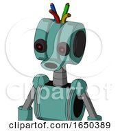 Greenish Mech With Multi Toroid Head And Round Mouth And Black Glowing Red Eyes And Wire Hair