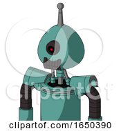 Greenish Mech With Rounded Head And Dark Tooth Mouth And Black Cyclops Eye And Single Antenna