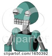 Greenish Mech With Rounded Head And Keyboard Mouth And Two Eyes