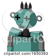 Greenish Mech With Rounded Head And Sad Mouth And Plus Sign Eyes And Three Dark Spikes