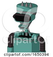 Greenish Mech With Vase Head And Happy Mouth And Black Visor Eye And Three Spiked