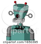 Greenish Mech With Vase Head And Keyboard Mouth And Black Cyclops Eye And Double Led Antenna