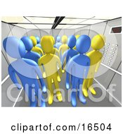 Blue And Yellow People In An Office Elevator Clipart Illustration Graphic
