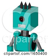 Greenish Robot With Box Head And Teeth Mouth And Black Cyclops Eye And Three Dark Spikes