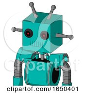 Greenish Robot With Box Head And Toothy Mouth And Black Glowing Red Eyes And Double Antenna
