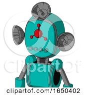 Greenish Robot With Bubble Head And Pipes Mouth And Cyclops Compound Eyes And Radar Dish Hat