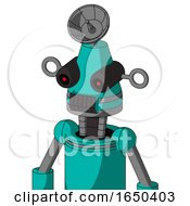 Greenish Robot With Cone Head And Dark Tooth Mouth And Black Glowing Red Eyes And Radar Dish Hat