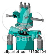 Greenish Robot With Cone Head And Pipes Mouth And Angry Eyes And Three Spiked
