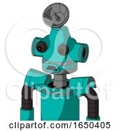 Greenish Robot With Cone Head And Sad Mouth And Red Eyed And Radar Dish Hat